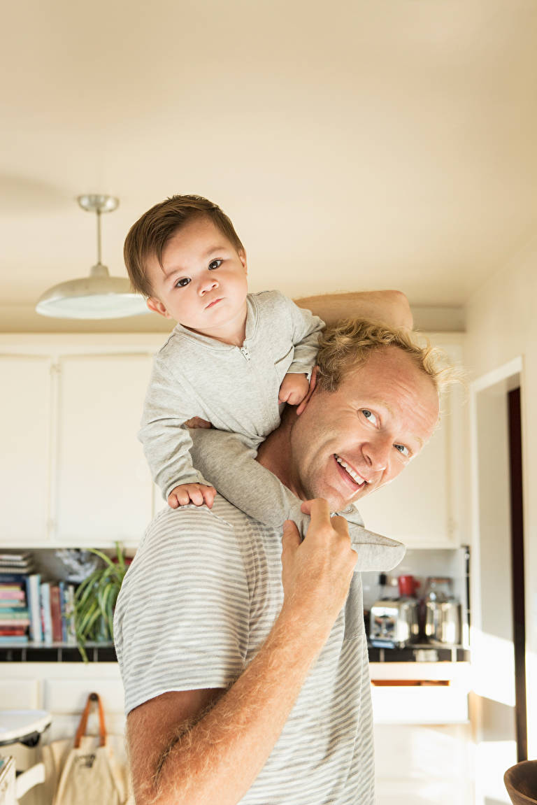 Stock Photo Father Carrying Baby Son On Shoulders 140686969